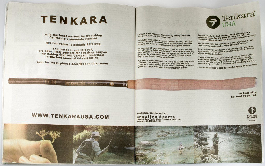 Tenkara advertising at California Fly Fisher, actual size