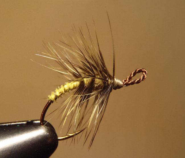 Yellow & Olive Palmered Tenkara Fly