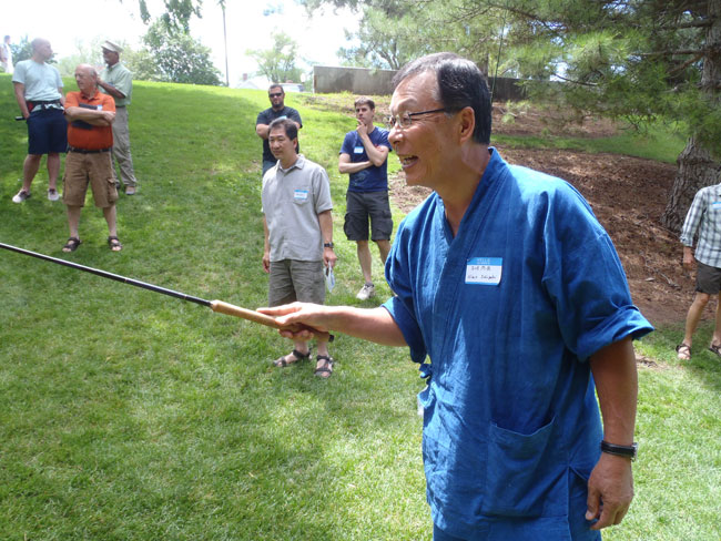 Dr. Ishigaki playing the knothead trout game at the tenkara summit