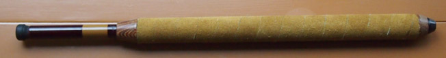 Tenkara rod with leather grip and wood