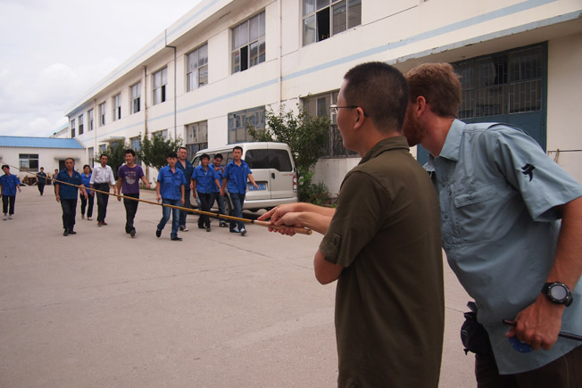 Teaching tenkara to our workers in China