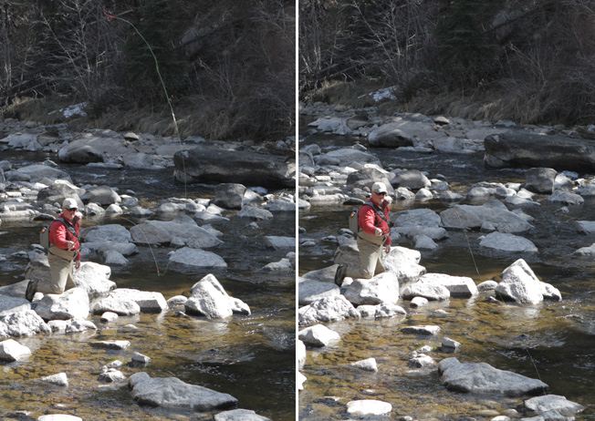 Tenkara casting two photos