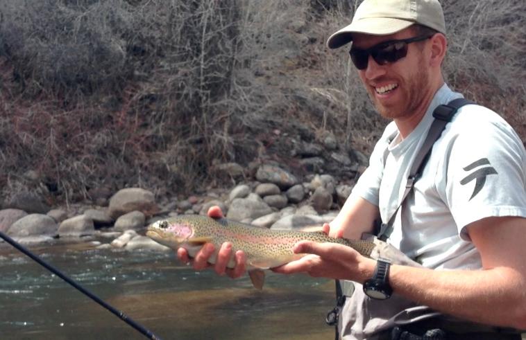 Rainbow trout on tenkara