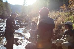 Women tenkara fishing in Boulder Colorado with Tenkara USA