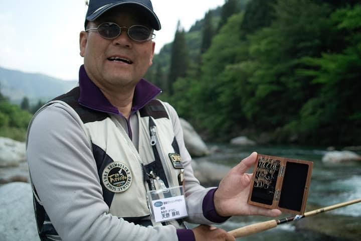 Mr. Amano shows his tenkara fly box