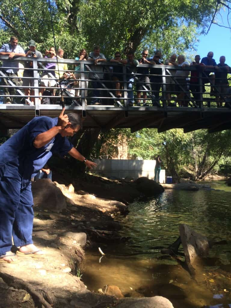 Dr. Ishigaki tenkara fishing on Boulder Creek