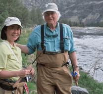 Dave Hughes and Masako tenkara fishing