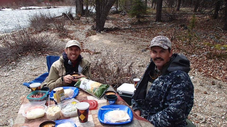 Tenkara guide Jim Mitchell with Daniel Galhardo in Montana