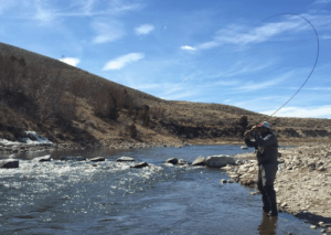 tenkara rod bend while playing a fish