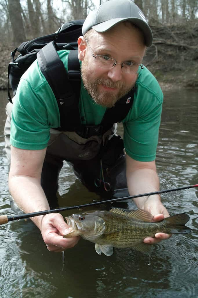 John of Tenkara USA with a Guadalupe bass